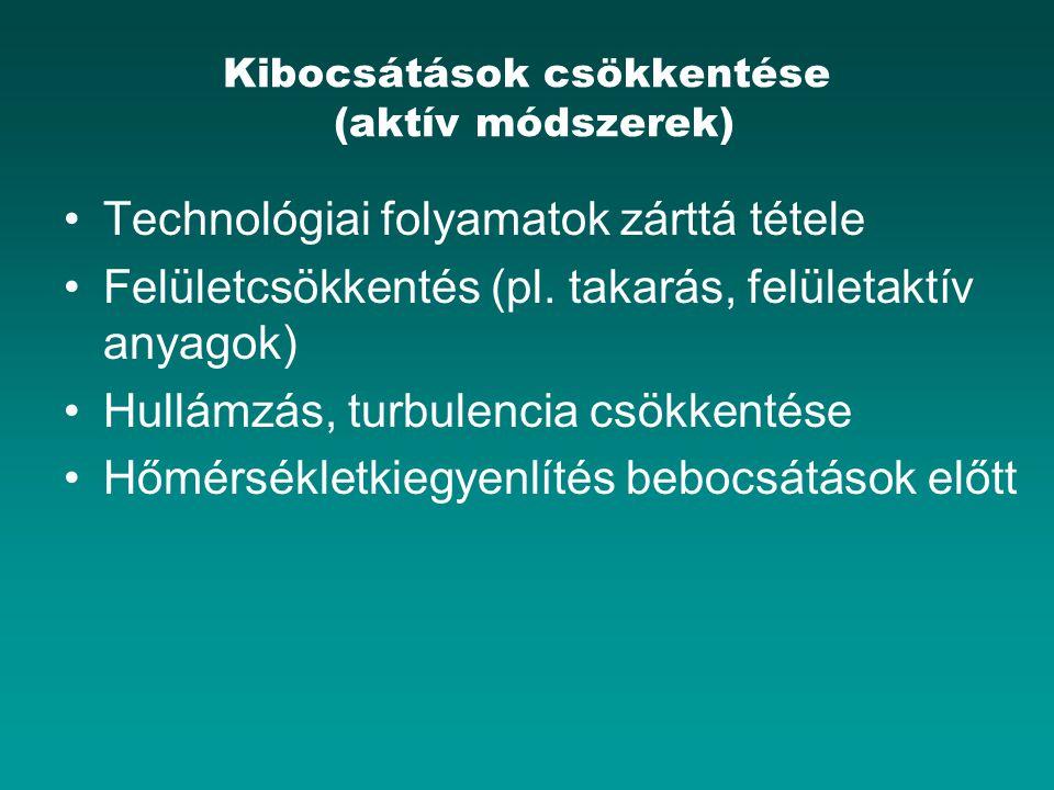 Kibocsátások csökkentése (aktív módszerek) Technológiai folyamatok zárttá tétele Felületcsökkentés (pl. takarás, felületaktív anyagok) Hullámzás, turb