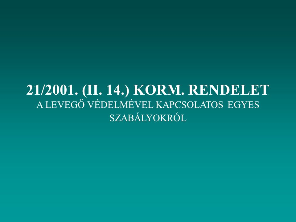 21/2001. (II. 14.) KORM. RENDELET A LEVEGŐ VÉDELMÉVEL KAPCSOLATOS EGYES SZABÁLYOKRÓL