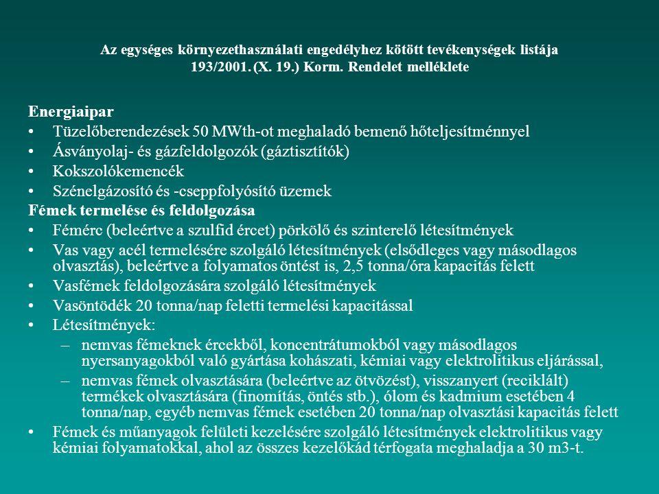 Az egységes környezethasználati engedélyhez kötött tevékenységek listája 193/2001. (X. 19.) Korm. Rendelet melléklete Energiaipar Tüzelőberendezések 5