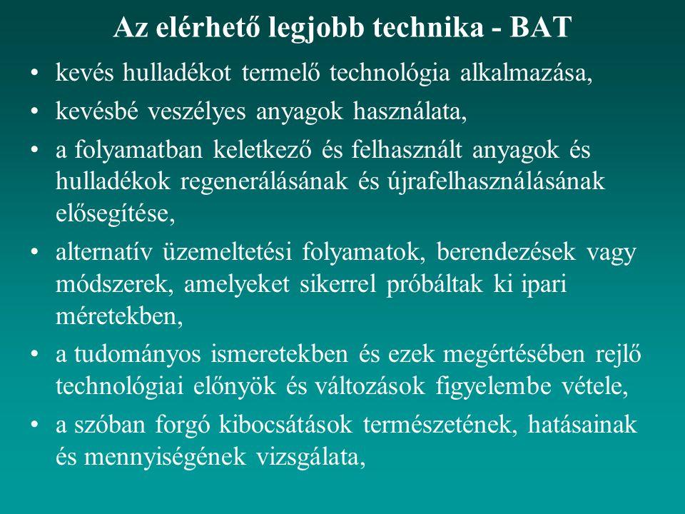 Az elérhető legjobb technika - BAT kevés hulladékot termelő technológia alkalmazása, kevésbé veszélyes anyagok használata, a folyamatban keletkező és
