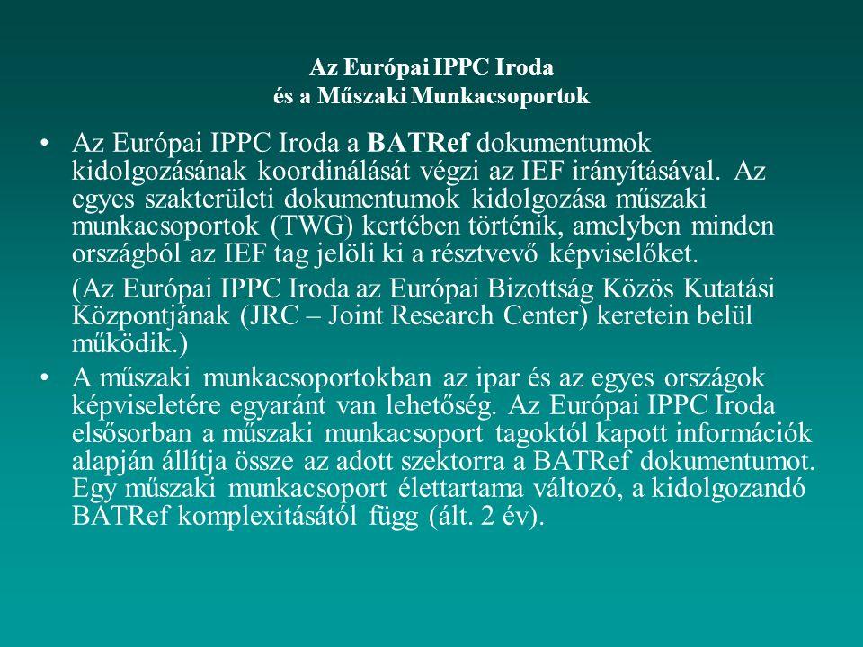 Az Európai IPPC Iroda és a Műszaki Munkacsoportok Az Európai IPPC Iroda a BATRef dokumentumok kidolgozásának koordinálását végzi az IEF irányításával.