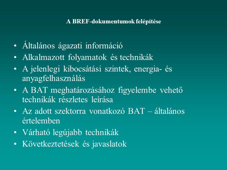 A BREF-dokumentumok felépítése Általános ágazati információ Alkalmazott folyamatok és technikák A jelenlegi kibocsátási szintek, energia- és anyagfelhasználás A BAT meghatározásához figyelembe vehető technikák részletes leírása Az adott szektorra vonatkozó BAT – általános értelemben Várható legújabb technikák Következtetések és javaslatok