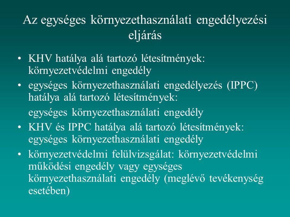 Az egységes környezethasználati engedélyezési eljárás KHV hatálya alá tartozó létesítmények: környezetvédelmi engedély egységes környezethasználati engedélyezés (IPPC) hatálya alá tartozó létesítmények: egységes környezethasználati engedély KHV és IPPC hatálya alá tartozó létesítmények: egységes környezethasználati engedély környezetvédelmi felülvizsgálat: környezetvédelmi működési engedély vagy egységes környezethasználati engedély (meglévő tevékenység esetében)