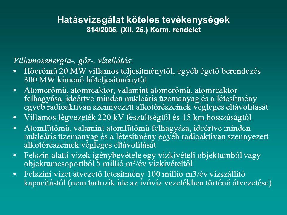 Hatásvizsgálat köteles tevékenységek 314/2005. (XII. 25.) Korm. rendelet Villamosenergia-, gőz-, vízellátás: Hőerőmű 20 MW villamos teljesítménytől, e