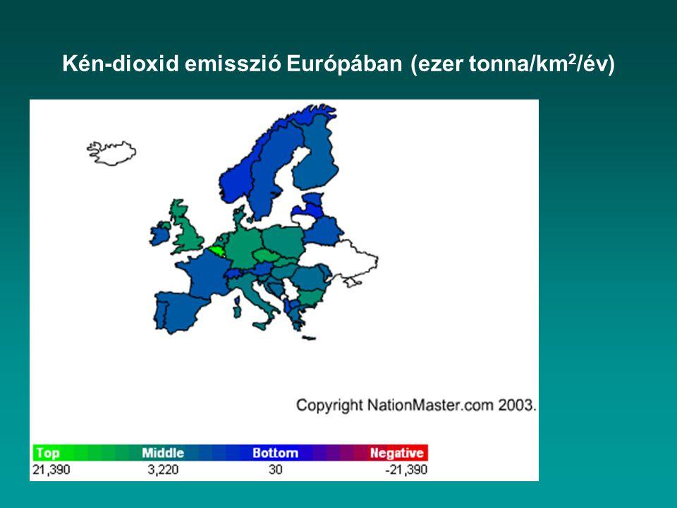 Kén-dioxid emisszió Európában (ezer tonna/km 2 /év)