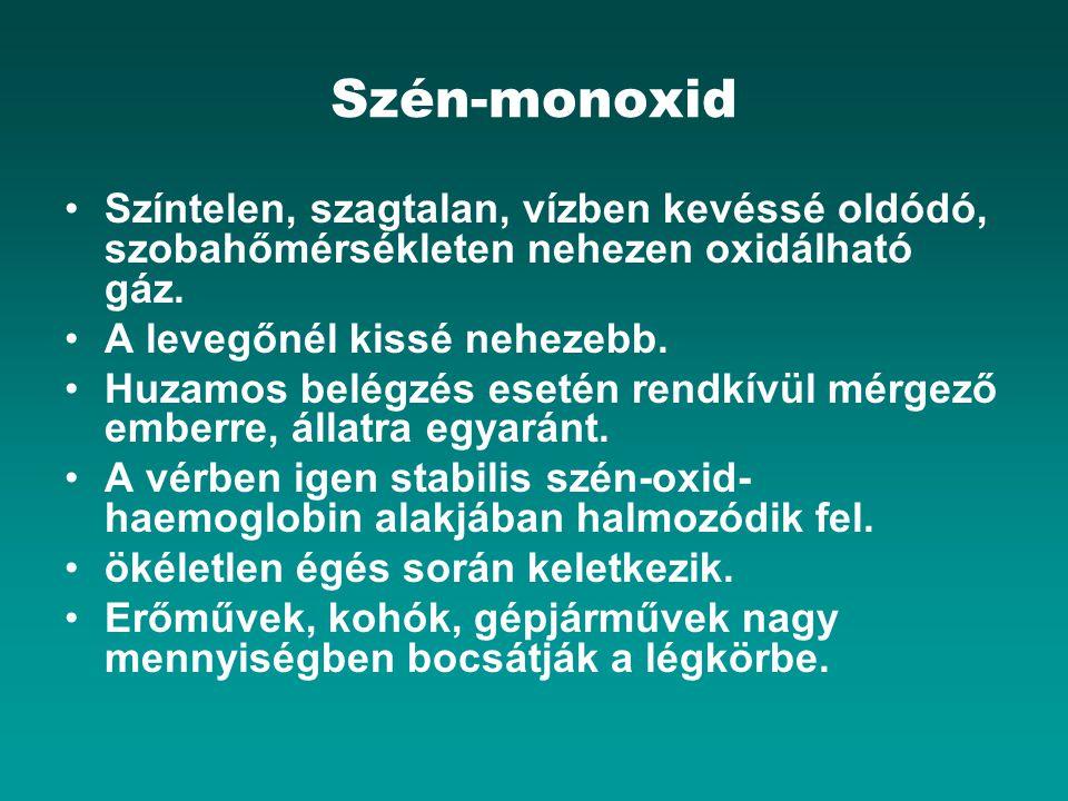 Szén-monoxid Színtelen, szagtalan, vízben kevéssé oldódó, szobahőmérsékleten nehezen oxidálható gáz. A levegőnél kissé nehezebb. Huzamos belégzés eset