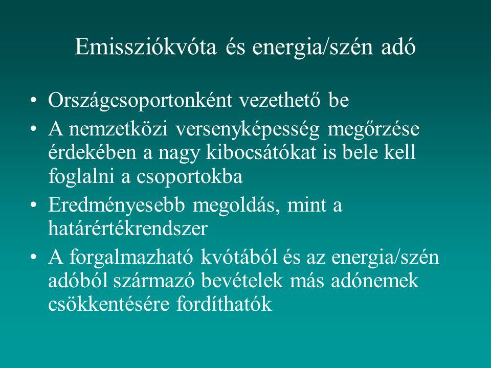 Országcsoportonként vezethető be A nemzetközi versenyképesség megőrzése érdekében a nagy kibocsátókat is bele kell foglalni a csoportokba Eredményesebb megoldás, mint a határértékrendszer A forgalmazható kvótából és az energia/szén adóból származó bevételek más adónemek csökkentésére fordíthatók Emissziókvóta és energia/szén adó