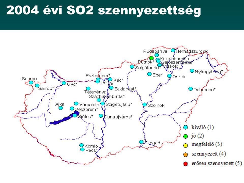 2004 évi SO2 szennyezettség