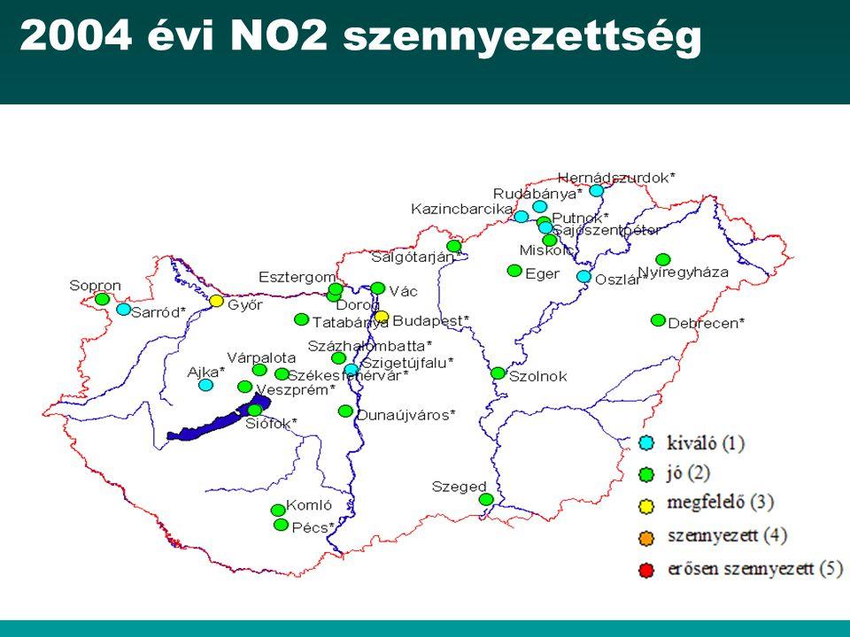 2004 évi NO2 szennyezettség