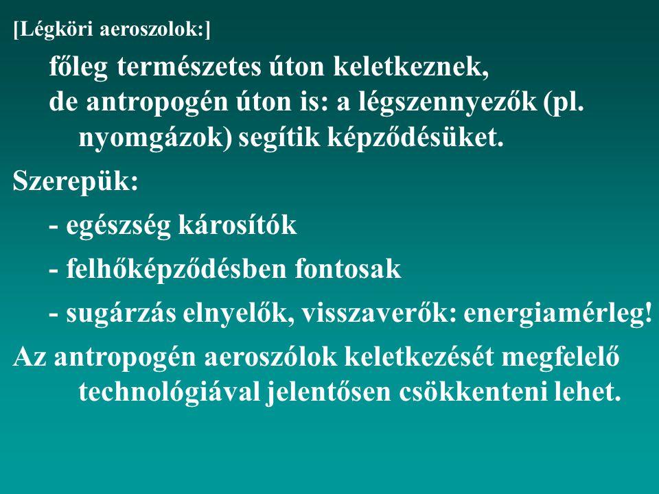 [Légköri aeroszolok:] főleg természetes úton keletkeznek, de antropogén úton is: a légszennyezők (pl.