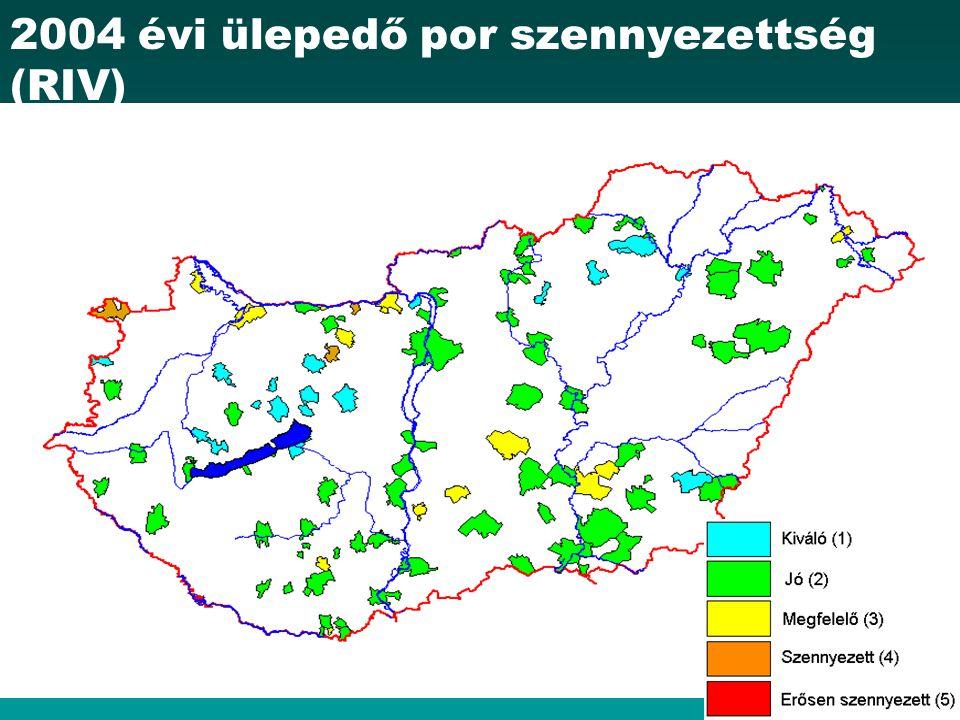 2004 évi ülepedő por szennyezettség (RIV)