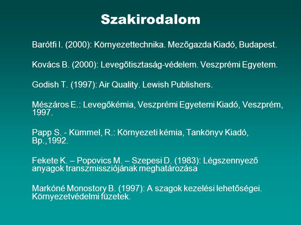 Szakirodalom Barótfi I. (2000): Környezettechnika. Mezőgazda Kiadó, Budapest. Kovács B. (2000): Levegőtisztaság-védelem. Veszprémi Egyetem. Godish T.