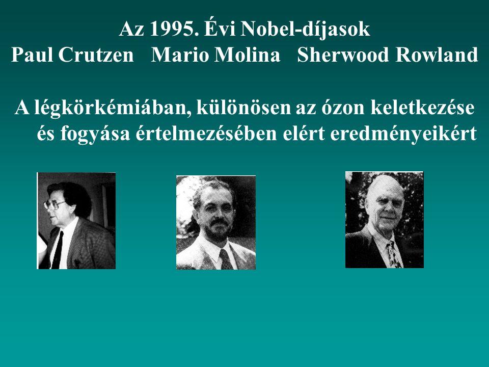 Az 1995. Évi Nobel-díjasok Paul Crutzen Mario Molina Sherwood Rowland A légkörkémiában, különösen az ózon keletkezése és fogyása értelmezésében elért