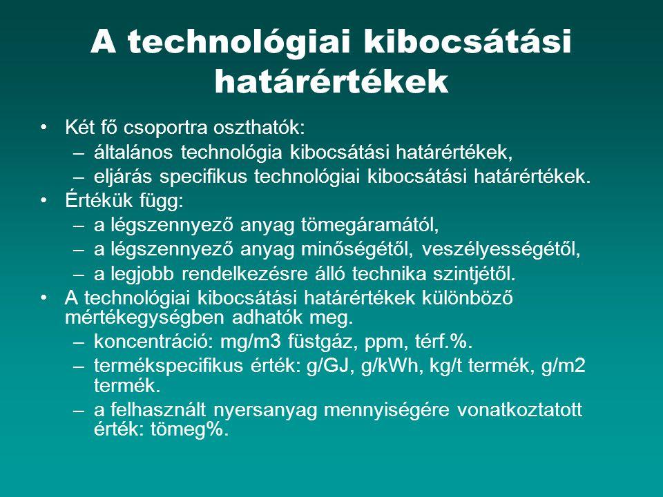 A technológiai kibocsátási határértékek Két fő csoportra oszthatók: –általános technológia kibocsátási határértékek, –eljárás specifikus technológiai kibocsátási határértékek.