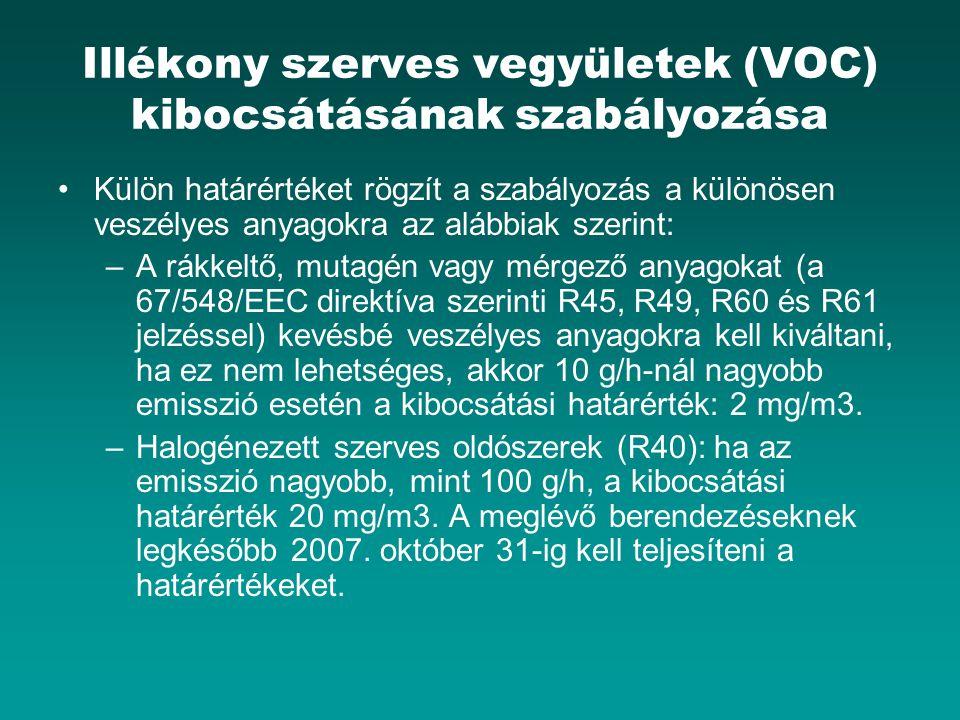 Illékony szerves vegyületek (VOC) kibocsátásának szabályozása Külön határértéket rögzít a szabályozás a különösen veszélyes anyagokra az alábbiak szer