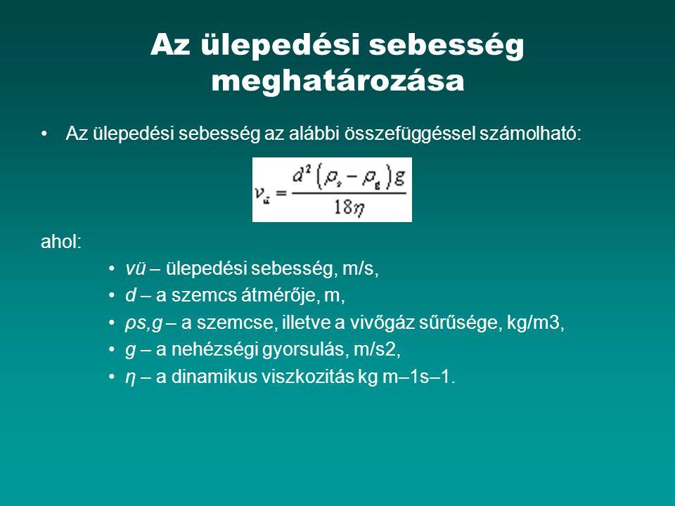 Az ülepedési sebesség meghatározása Az ülepedési sebesség az alábbi összefüggéssel számolható: ahol: vü – ülepedési sebesség, m/s, d – a szemcs átmérője, m, ρs,g – a szemcse, illetve a vivőgáz sűrűsége, kg/m3, g – a nehézségi gyorsulás, m/s2, η – a dinamikus viszkozitás kg m–1s–1.