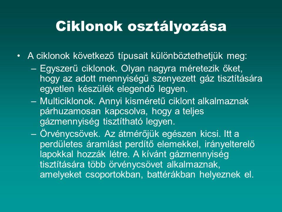Ciklonok osztályozása A ciklonok következő típusait különböztethetjük meg: –Egyszerű ciklonok. Olyan nagyra méretezik őket, hogy az adott mennyiségű s