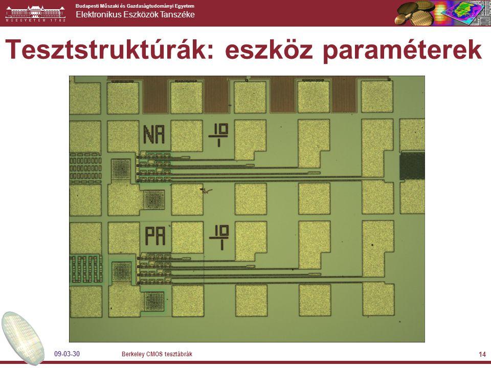 Budapesti Műszaki és Gazdaságtudományi Egyetem Elektronikus Eszközök Tanszéke 09-03-30 Berkeley CMOS tesztábrák 14 Tesztstruktúrák: eszköz paraméterek