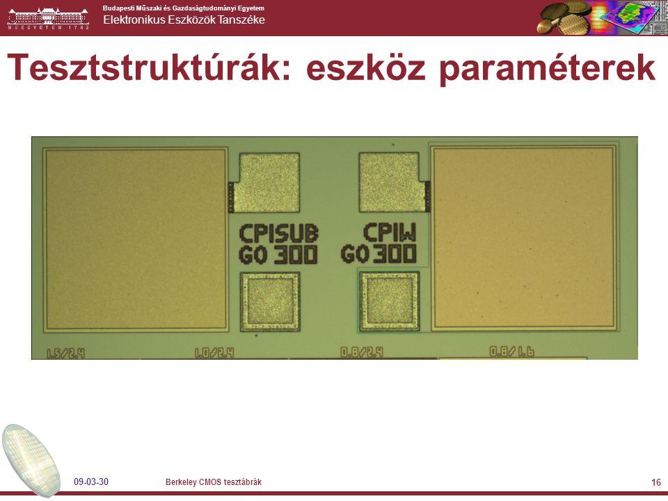 Budapesti Műszaki és Gazdaságtudományi Egyetem Elektronikus Eszközök Tanszéke 09-03-30 Berkeley CMOS tesztábrák 16 Tesztstruktúrák: eszköz paraméterek