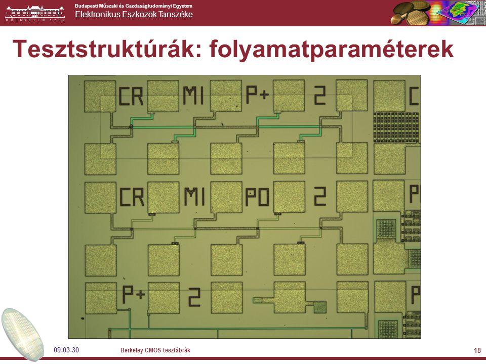 Budapesti Műszaki és Gazdaságtudományi Egyetem Elektronikus Eszközök Tanszéke 09-03-30 Berkeley CMOS tesztábrák 18 Tesztstruktúrák: folyamatparaméterek