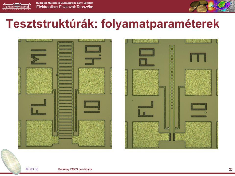 Budapesti Műszaki és Gazdaságtudományi Egyetem Elektronikus Eszközök Tanszéke 09-03-30 Berkeley CMOS tesztábrák 23 Tesztstruktúrák: folyamatparaméterek