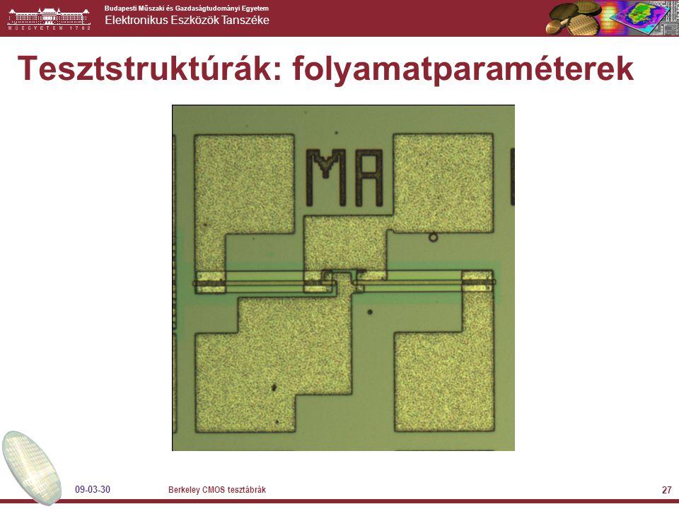 Budapesti Műszaki és Gazdaságtudományi Egyetem Elektronikus Eszközök Tanszéke 09-03-30 Berkeley CMOS tesztábrák 27 Tesztstruktúrák: folyamatparaméterek