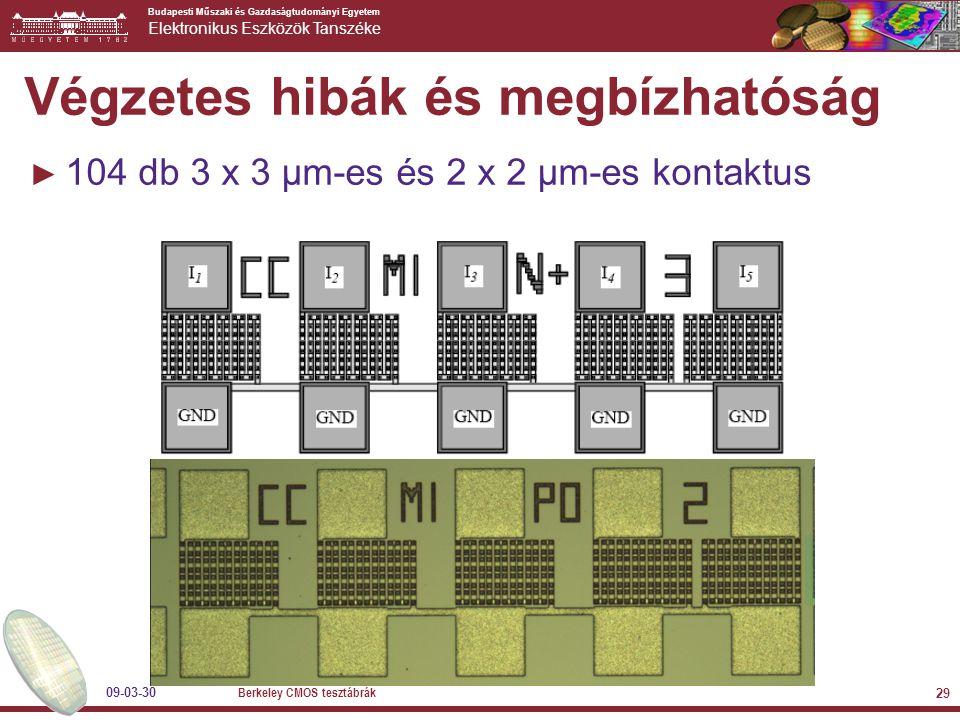 Budapesti Műszaki és Gazdaságtudományi Egyetem Elektronikus Eszközök Tanszéke 09-03-30 Berkeley CMOS tesztábrák 29 Végzetes hibák és megbízhatóság ► 104 db 3 x 3 µm-es és 2 x 2 µm-es kontaktus