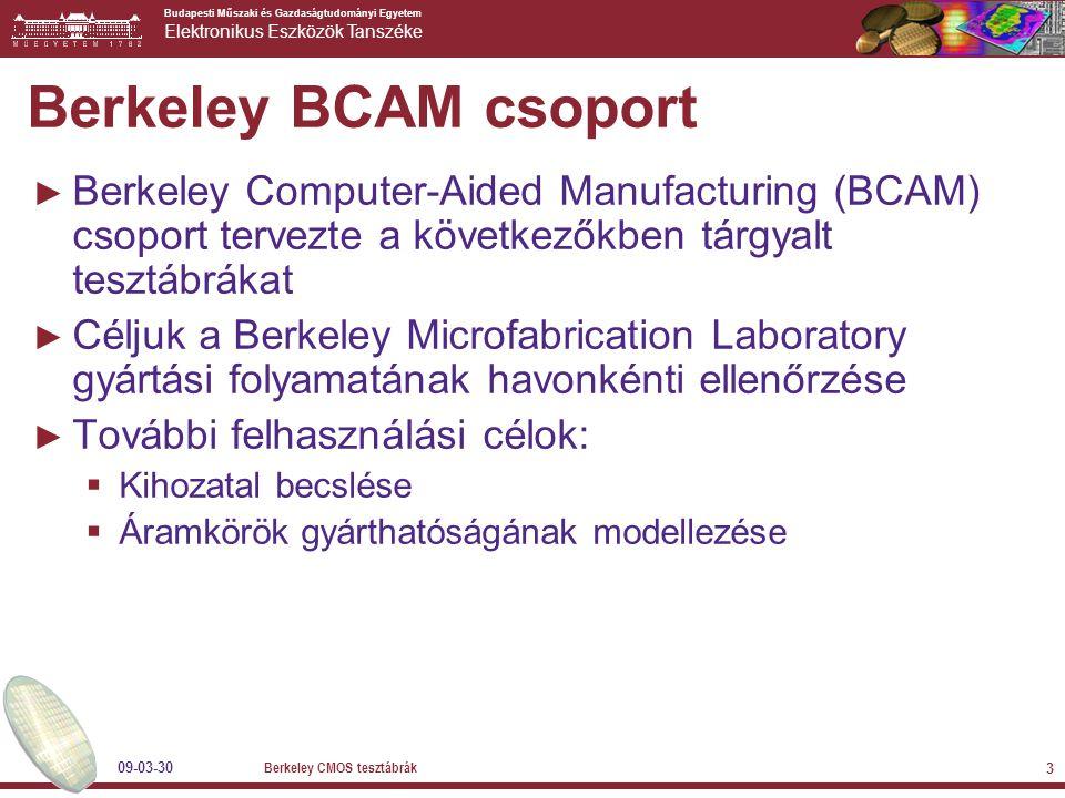 Budapesti Műszaki és Gazdaságtudományi Egyetem Elektronikus Eszközök Tanszéke 09-03-30 Berkeley CMOS tesztábrák 3 Berkeley BCAM csoport ► Berkeley Computer-Aided Manufacturing (BCAM) csoport tervezte a következőkben tárgyalt tesztábrákat ► Céljuk a Berkeley Microfabrication Laboratory gyártási folyamatának havonkénti ellenőrzése ► További felhasználási célok:  Kihozatal becslése  Áramkörök gyárthatóságának modellezése