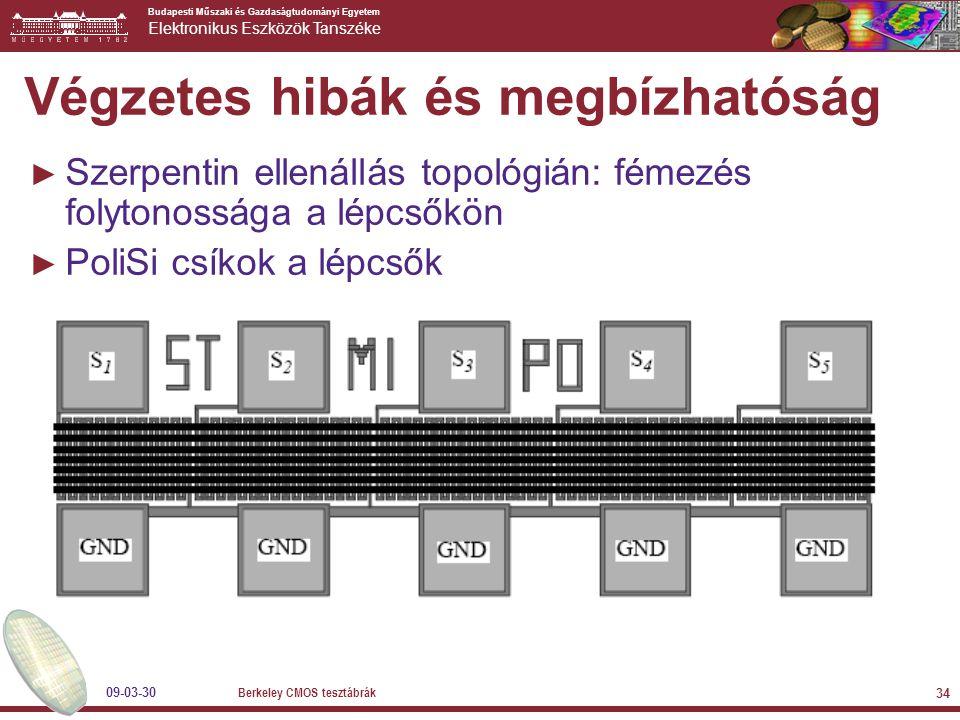 Budapesti Műszaki és Gazdaságtudományi Egyetem Elektronikus Eszközök Tanszéke 09-03-30 Berkeley CMOS tesztábrák 34 Végzetes hibák és megbízhatóság ► Szerpentin ellenállás topológián: fémezés folytonossága a lépcsőkön ► PoliSi csíkok a lépcsők