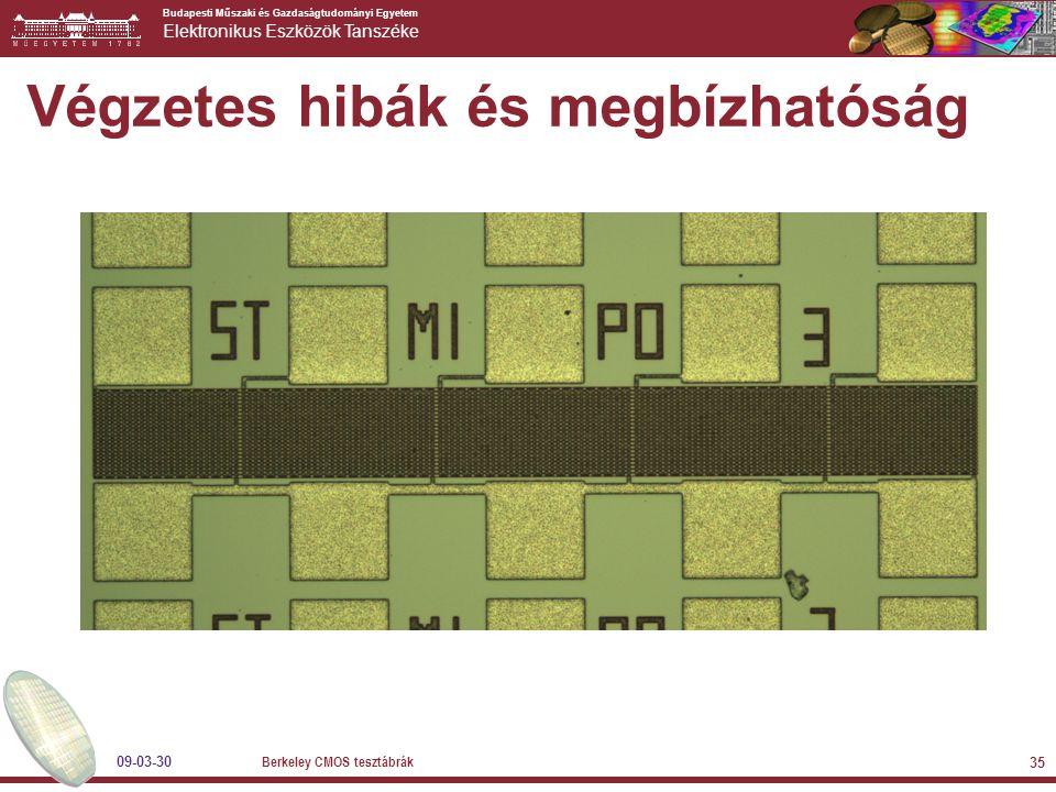 Budapesti Műszaki és Gazdaságtudományi Egyetem Elektronikus Eszközök Tanszéke 09-03-30 Berkeley CMOS tesztábrák 35 Végzetes hibák és megbízhatóság