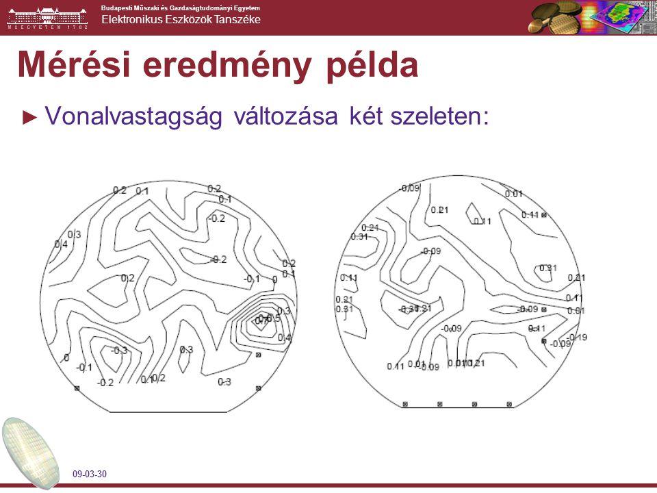 Budapesti Műszaki és Gazdaságtudományi Egyetem Elektronikus Eszközök Tanszéke 09-03-30 Mérési eredmény példa ► Vonalvastagság változása két szeleten: