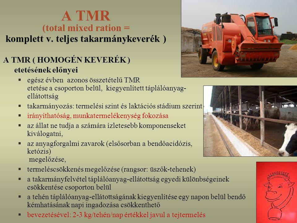 A TMR előállításának lépései 1.kitermelés 2.bemérés 3.aprítás 4.keverés (5-10 perc) 5.kivetés