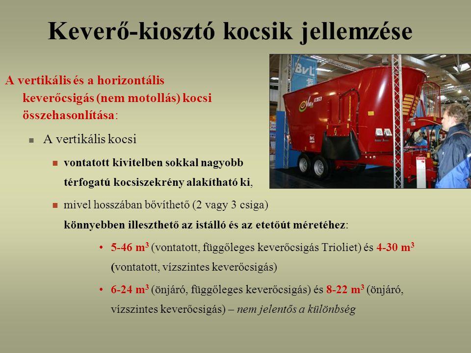 Keverő-kiosztó kocsik jellemzése A vertikális és a horizontális keverőcsigás (nem motollás) kocsi összehasonlítása: A vertikális kocsi vontatott kivitelben sokkal nagyobb térfogatú kocsiszekrény alakítható ki, mivel hosszában bővíthető (2 vagy 3 csiga) könnyebben illeszthető az istálló és az etetőút méretéhez: 5-46 m 3 (vontatott, függőleges keverőcsigás Trioliet) és 4-30 m 3 (vontatott, vízszintes keverőcsigás) 6-24 m 3 (önjáró, függőleges keverőcsigás) és 8-22 m 3 (önjáró, vízszintes keverőcsigás) – nem jelentős a különbség