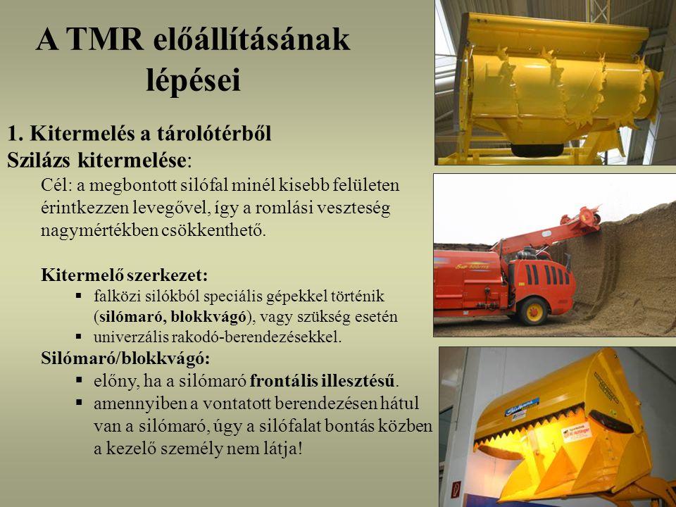 Keverő-kiosztó kocsik jellemzése és összehasonlítása vontatott (4-46 m 3 ) vagy önjáró (6-30 m 3 ) vízszintes (2-4) vagy függőleges (1-3) csigás, vagy motollás keverőszerkezet vágó- vagy marószerkezet nélküli, vagy egybeépített: front és hátsó illesztésű (silómaró/blokkvágó)