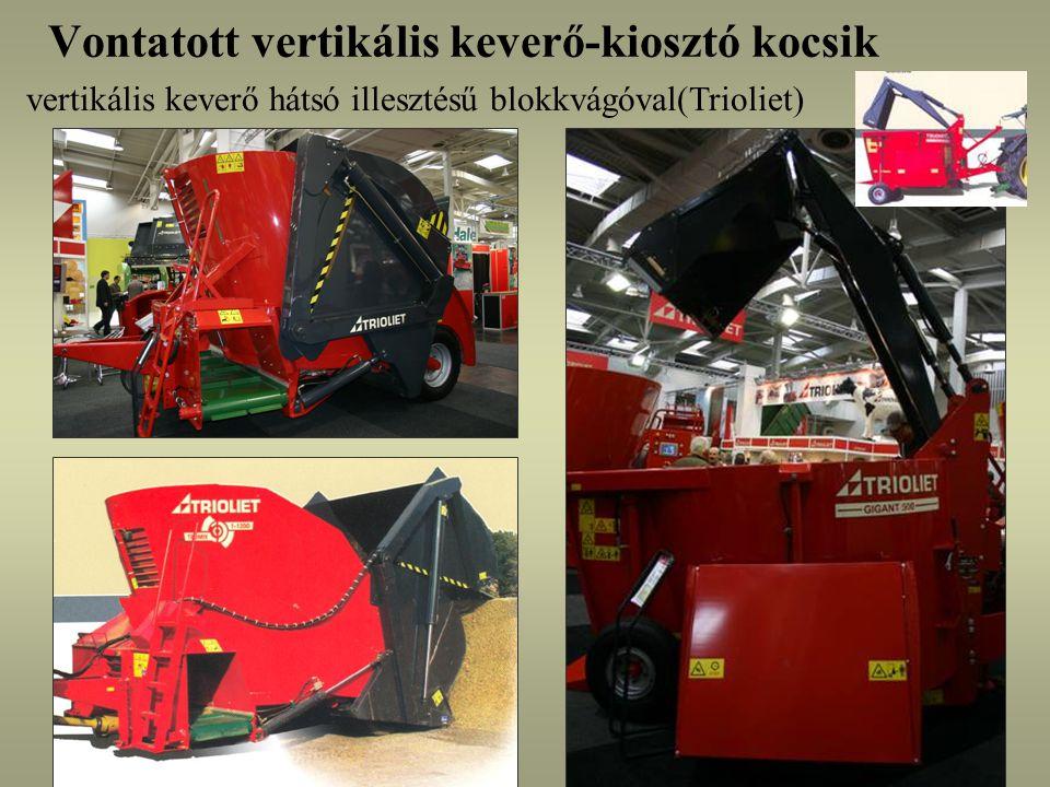 Vontatott vertikális keverő-kiosztó kocsik vertikális keverő hátsó illesztésű blokkvágóval(Trioliet)