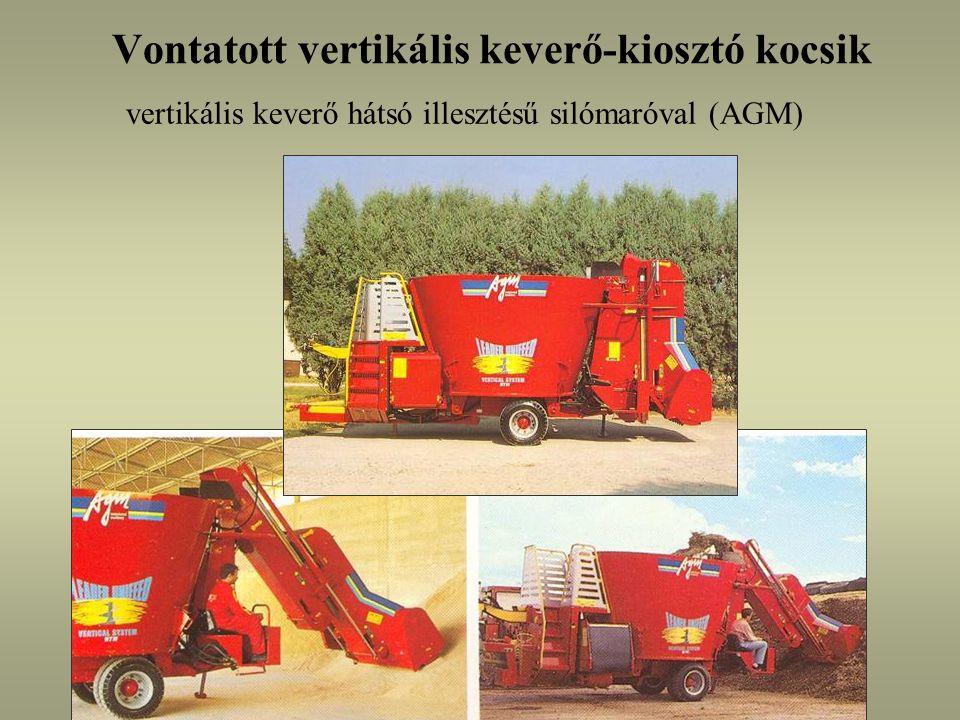 Vontatott vertikális keverő-kiosztó kocsik vertikális keverő hátsó illesztésű silómaróval (AGM)