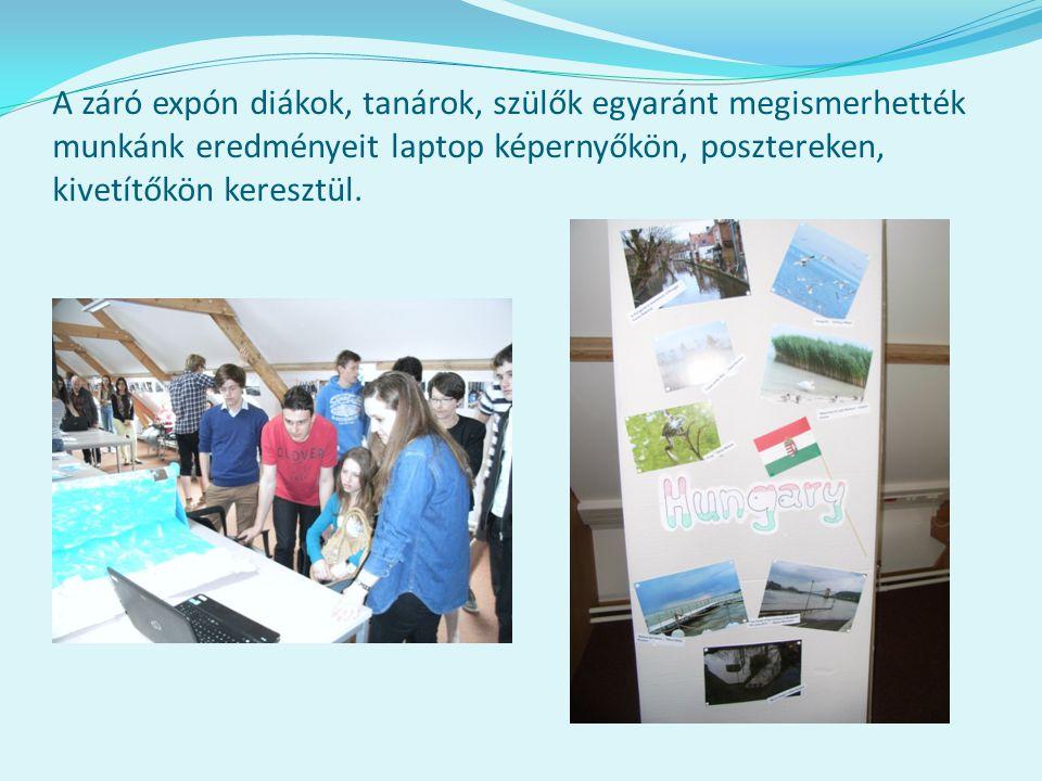 A záró expón diákok, tanárok, szülők egyaránt megismerhették munkánk eredményeit laptop képernyőkön, posztereken, kivetítőkön keresztül.