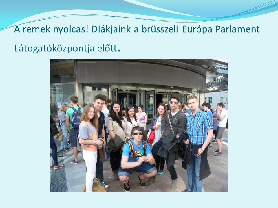A remek nyolcas! Diákjaink a brüsszeli Európa Parlament Látogatóközpontja előtt.