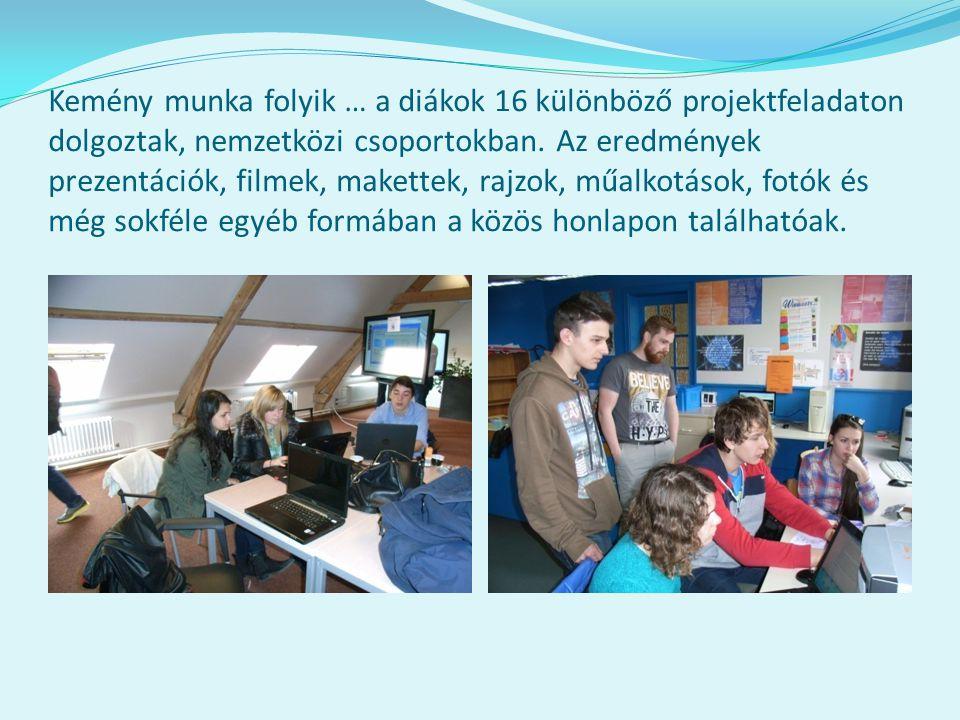 Kemény munka folyik … a diákok 16 különböző projektfeladaton dolgoztak, nemzetközi csoportokban. Az eredmények prezentációk, filmek, makettek, rajzok,