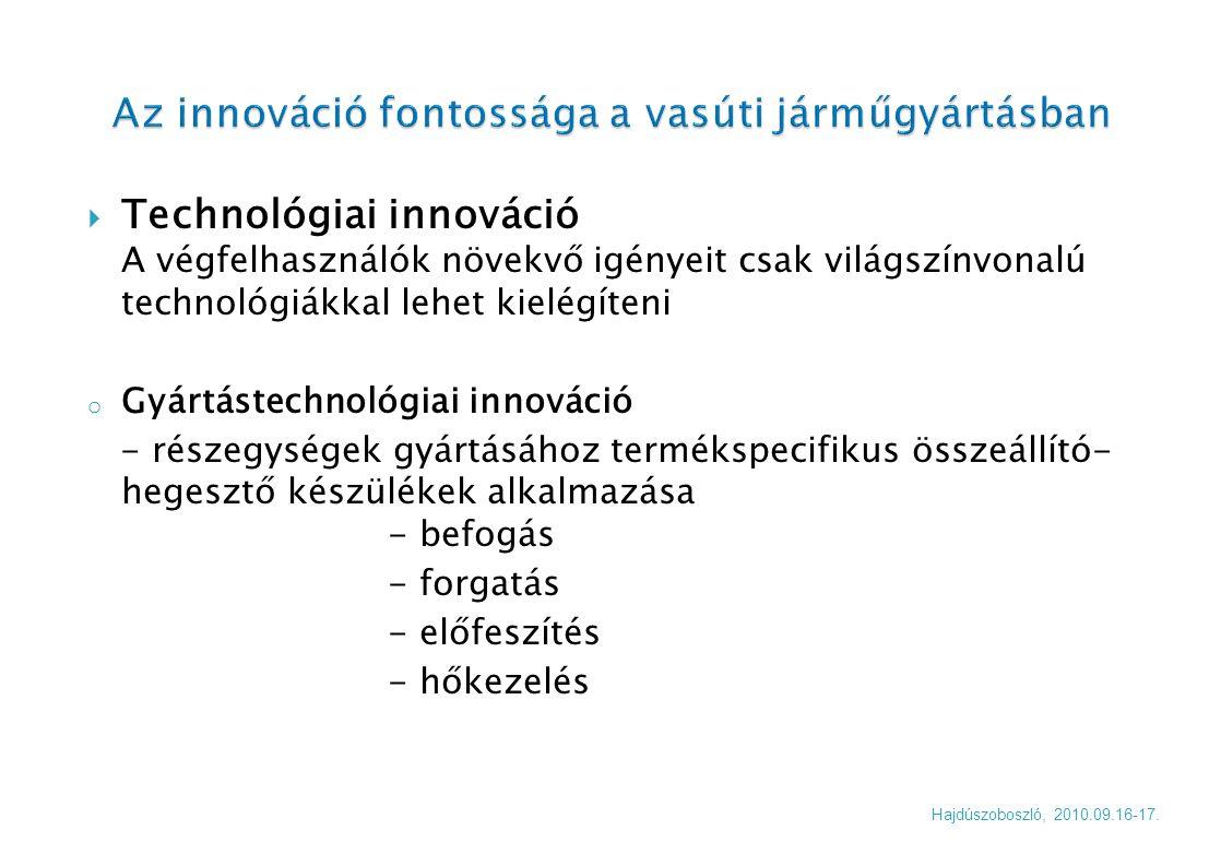  Technológiai innováció A végfelhasználók növekvő igényeit csak világszínvonalú technológiákkal lehet kielégíteni o Gyártástechnológiai innováció - r