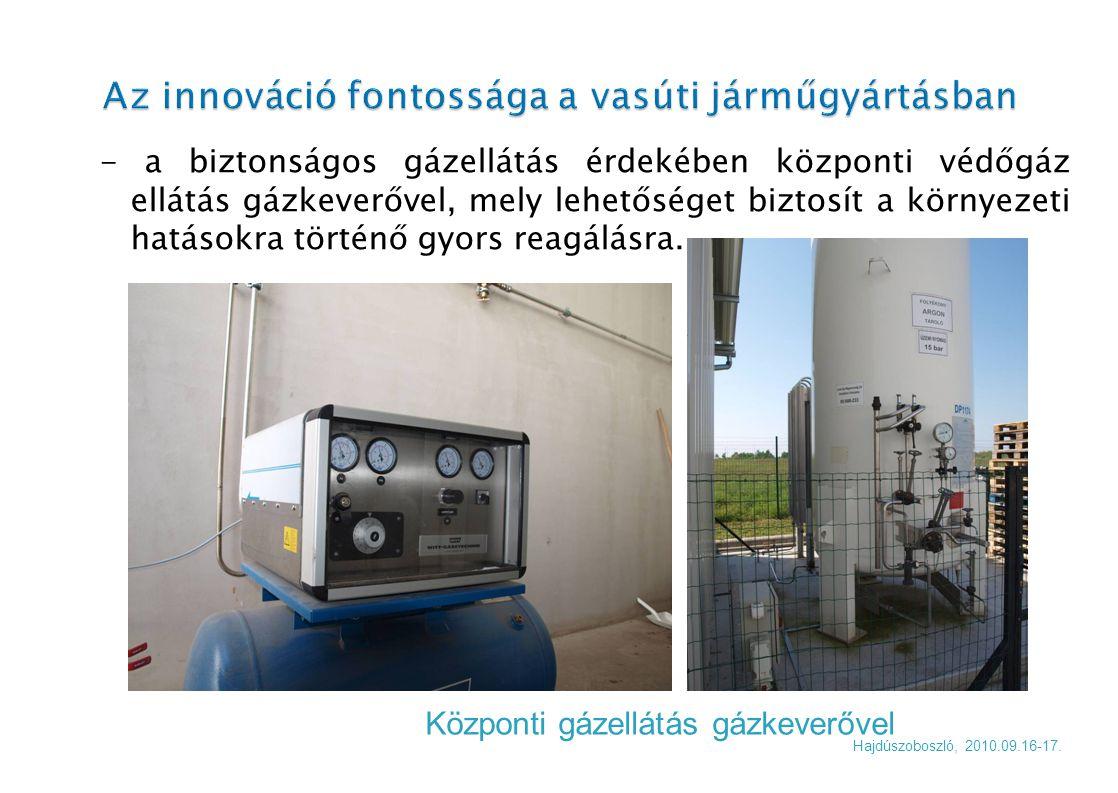 - a biztonságos gázellátás érdekében központi védőgáz ellátás gázkeverővel, mely lehetőséget biztosít a környezeti hatásokra történő gyors reagálásra.