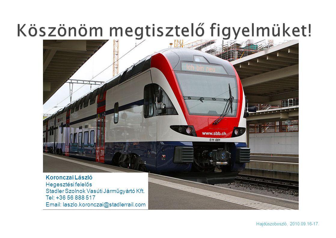 Koronczai László Hegesztési felelős Stadler Szolnok Vasúti Járműgyártó Kft. Tel: +36 56 888 517 Email: laszlo.koronczai@stadlerrail.com Hajdúszoboszló