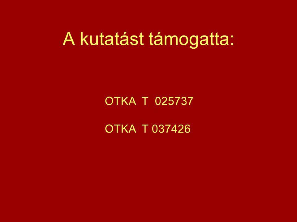 A kutatást támogatta: OTKA T 025737 OTKA T 037426
