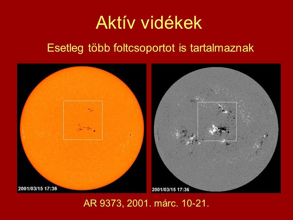 Aktív vidékek Esetleg több foltcsoportot is tartalmaznak AR 9373, 2001. márc. 10-21.