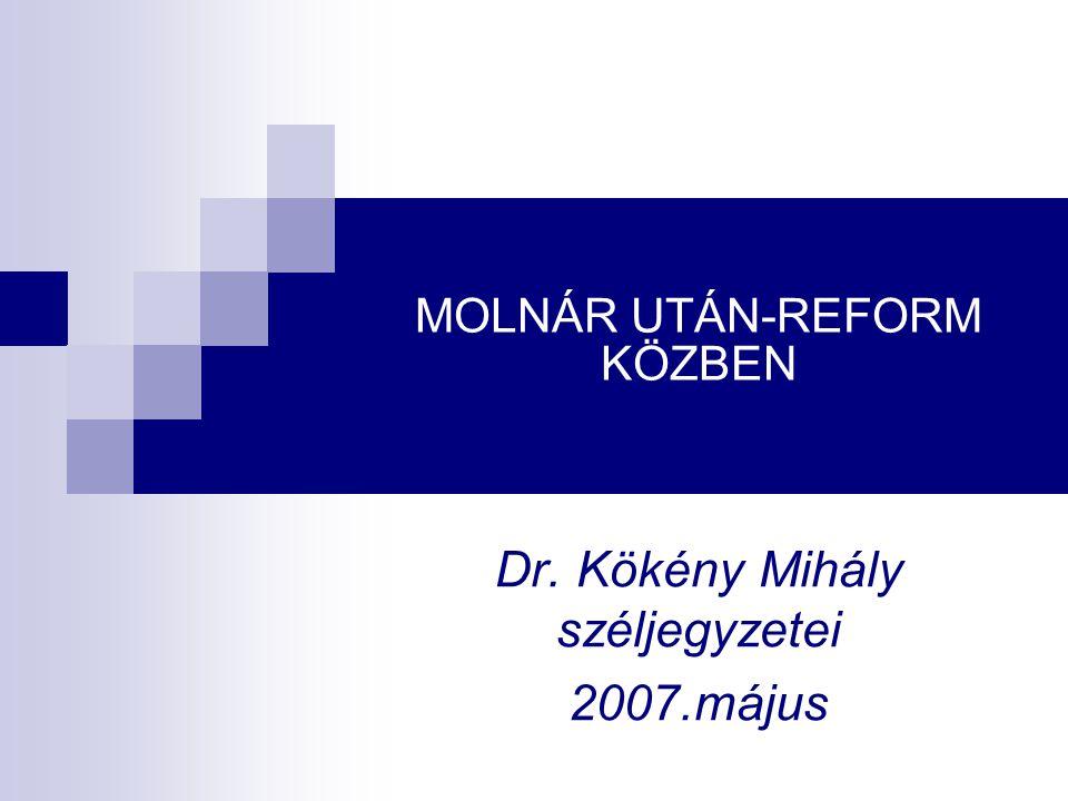 MOLNÁR UTÁN-REFORM KÖZBEN Dr. Kökény Mihály széljegyzetei 2007.május