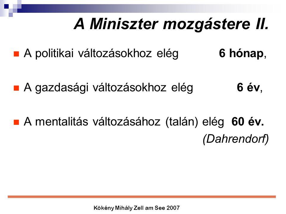 Kökény Mihály Zell am See 2007 A Miniszter mozgástere II. A politikai változásokhoz elég 6 hónap, A gazdasági változásokhoz elég 6 év, A mentalitás vá