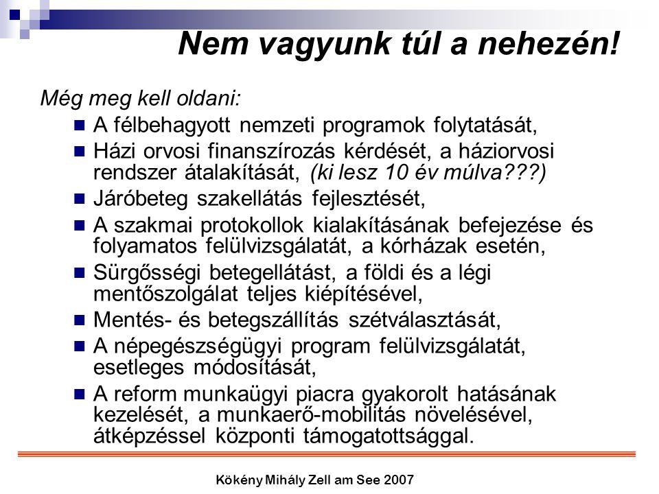Kökény Mihály Zell am See 2007 Nem vagyunk túl a nehezén! Még meg kell oldani: A félbehagyott nemzeti programok folytatását, Házi orvosi finanszírozás