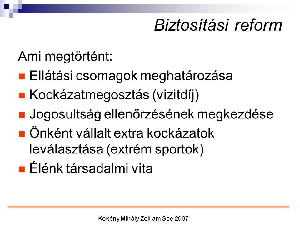 Kökény Mihály Zell am See 2007 Biztosítási reform Ami megtörtént: Ellátási csomagok meghatározása Kockázatmegosztás (vizitdíj) Jogosultság ellenőrzésé