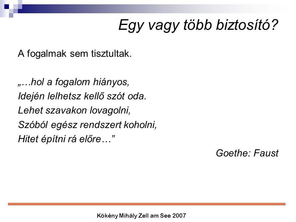 """Kökény Mihály Zell am See 2007 Egy vagy több biztosító? A fogalmak sem tisztultak. """"…hol a fogalom hiányos, Idején lelhetsz kellő szót oda. Lehet szav"""