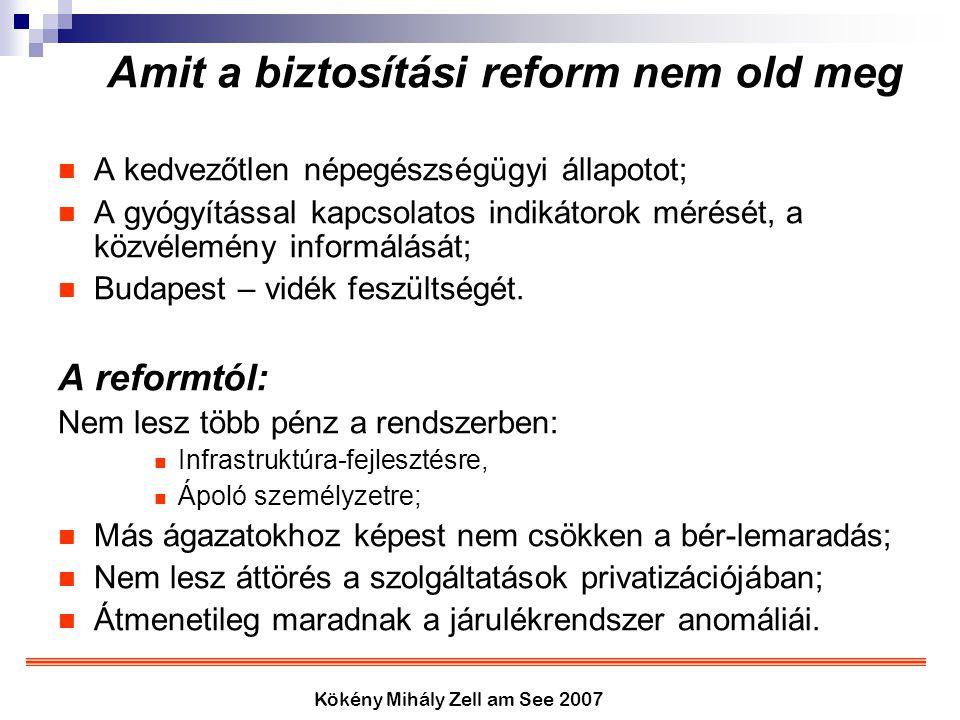 Kökény Mihály Zell am See 2007 Amit a biztosítási reform nem old meg A kedvezőtlen népegészségügyi állapotot; A gyógyítással kapcsolatos indikátorok m